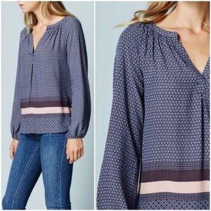 Boden Dolly Mixed Print Striped Popover Blouse Top